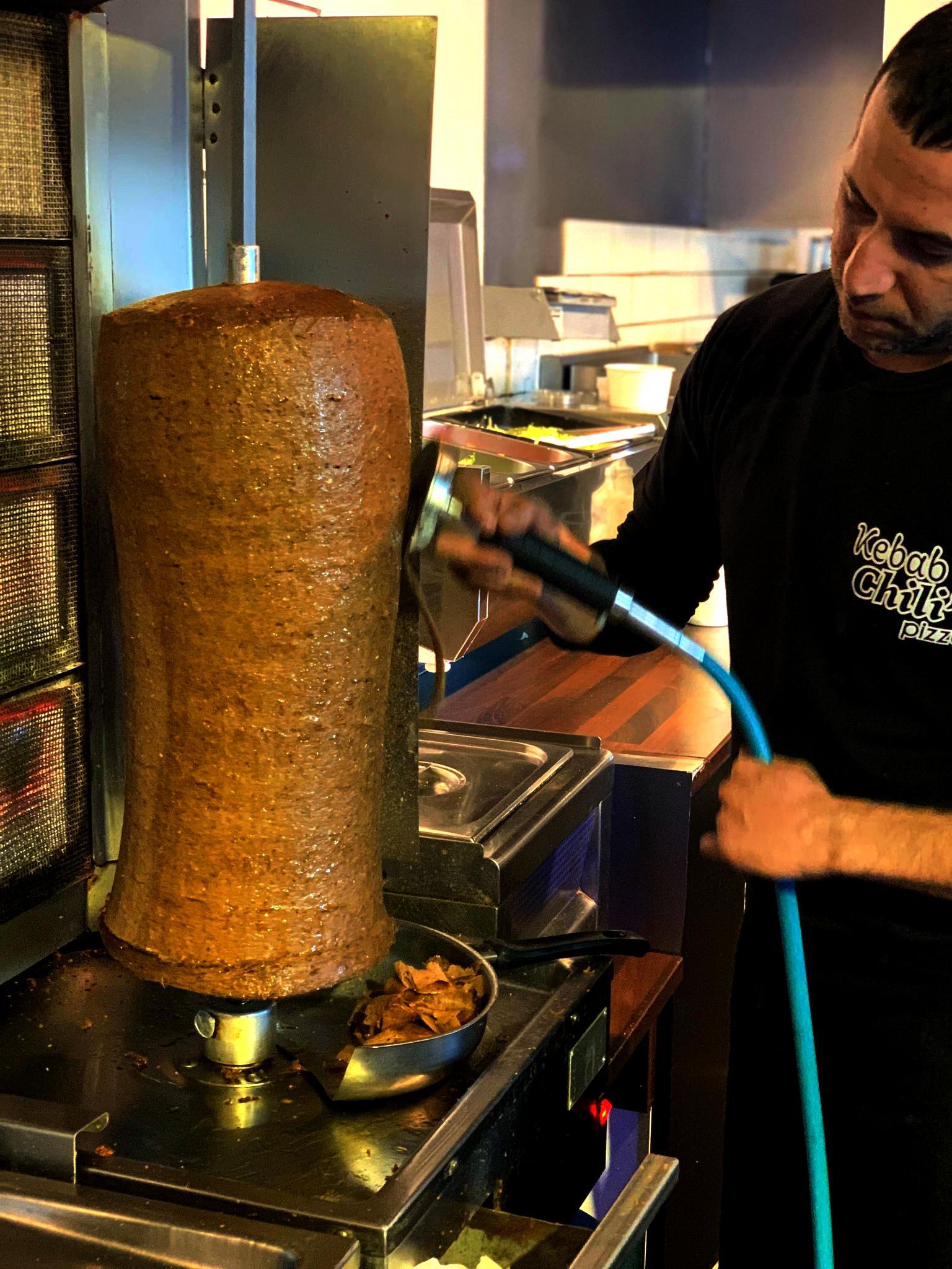 Kebab rulle skæring